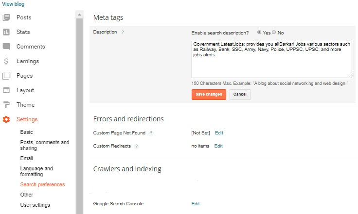 Go to blogger dashboard and then click on setting
