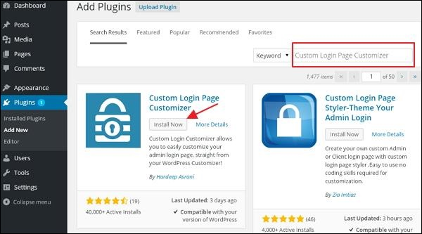 Step (2) − Install and activate the Custom Login Page Customizer Plugin.