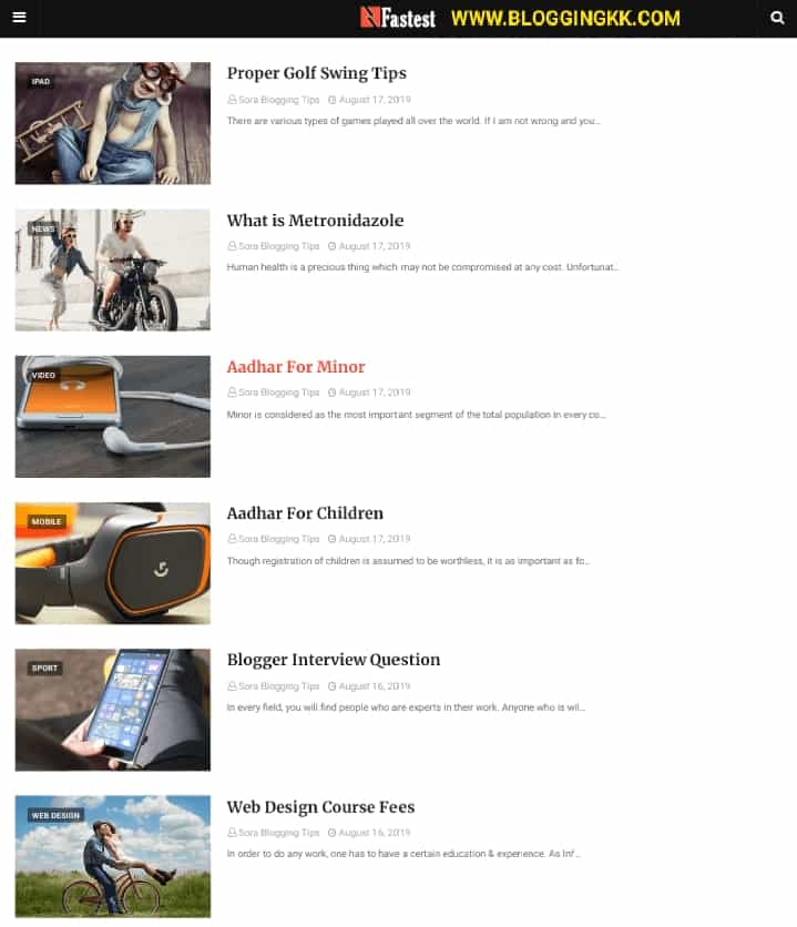 Fastest-Blogger-Template